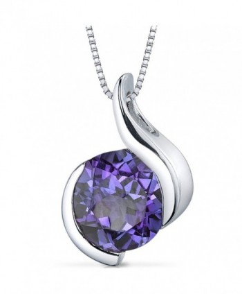 Simulated Alexandrite Bezel Pendant Necklace Sterling Silver Rhodium Nickel Finish 2.50 Carats - CP116FI9CXJ