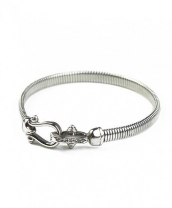 Stainless Steel Bracelet-BAYUEBA Square Snake Chain Bangle - Platinum Plated - C21847N23E9