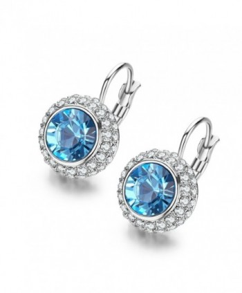 SBLING Platinum-Plated Leverback Drop Earrings Made with Blue Swarovski Crystals (2.2ct) - CK1294TCFMF