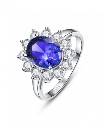 BONLAVIE Women's 925 Sterling Silver Oval Cut Created Tanzanite Princess Diana Engagement Ring - CE12N34R9K1
