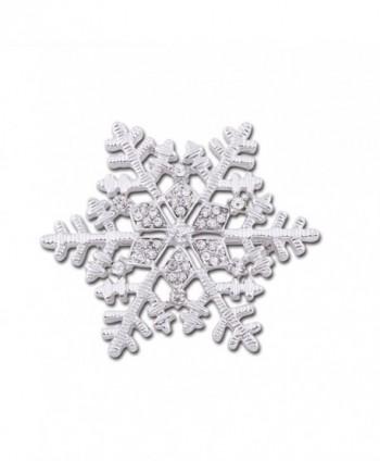 CHUYUN Crystal Snowflake Winter Brooch Pins for Christmas Gift - Silver - CG186OC480A