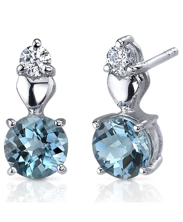 London Blue Topaz Earrings Sterling Silver Rhodium Nickel Finish Heart Design 2.00 Carats - CQ116NSEHTP