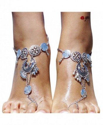 Bienvenu Multi Chain Beach Tassels Anklet Chain Bracelet Barefoot Sandals Foot Jewelry - Sliver - CJ17Z3LL2LU