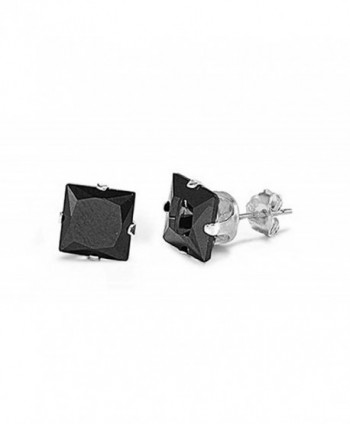 Sterling Silver Black 3mm Square Cubic Zirconia CZ Stud Earrings - CZ117PRNBIV