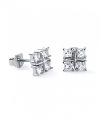 925 Sterling Silver Simple Bling Cz Square Cubic Zirconia Stud Earrings for Women Girls - CS1839D660D