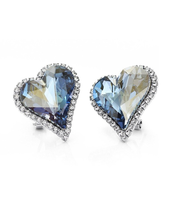 Neoglory Platinum Plated Made with Swarovski Elements Crystal Blue Heart Stud Earrings Clip On - CZ11NN43E7D