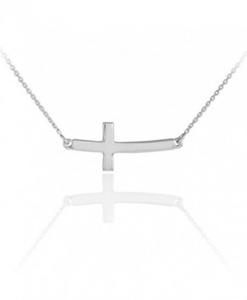 925 Sterling Silver Sideways Cross Curved Cute Necklace - C111DXJLHAN