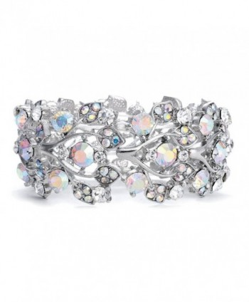 Mariell Aurora Borealis Crystal Stretch Bracelet - One Size Fits Most for Prom- Bridesmaids- and Weddings - CX12O496DNF