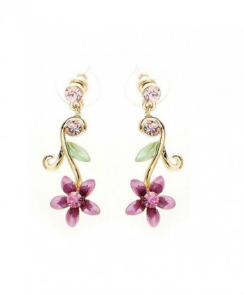 Glamorousky Purple Flower Golden Pair Earrings with Austrian Element Crystals (1381) - CH116K10R0X
