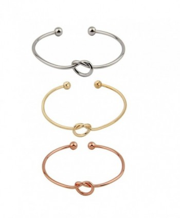 ZUOBAO Simple Love Knot Bracelet Tie the Knot Cuff Bangle - 3 colors 1 set - CB17YTZ33A5