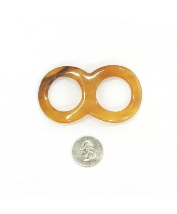 Marycrafts Size 8 Amber Honey Large Buffalo Horn Scarf Ring- Shawl Ring Jewelry- Scarf Holder Handmade 8x4.5 cm - C211KC6J4ZB