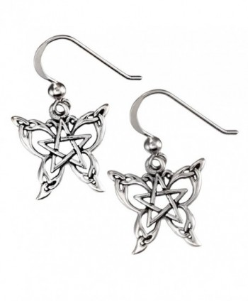 Sterling Silver Butterfly Pentacle Pentagram Earrings - CG110DFZRSJ