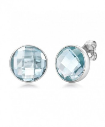 Sterling Silver Blue Topaz Round Checkerboard Style Women's Stud Earrings (7.00 cttw- 10MM Round) - CY11W7UK1VB
