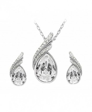 Clear Swarovski Element Set Austria Crystal Teardrop Fashion Earrings Pendant Necklace FREE Pouch - CZ11GZKR1L7