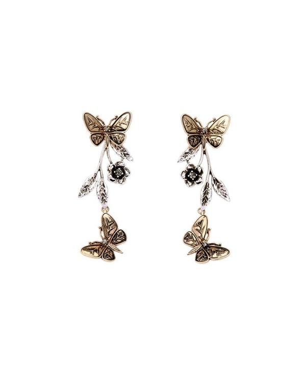 Antique Gold Butterfly Front To Back 2 In 1 Double Sided Long Drop Earrings - CQ12HKHH0AJ