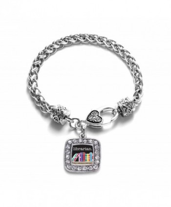 Librarian Library Classic Silver Plated Square Crystal Charm Bracelet - CR11LBGLEJ5