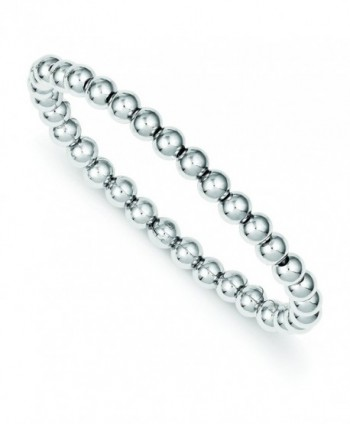 Sterling Silver Polished Bead Stretch Bracelet - CY11FH0DDUJ