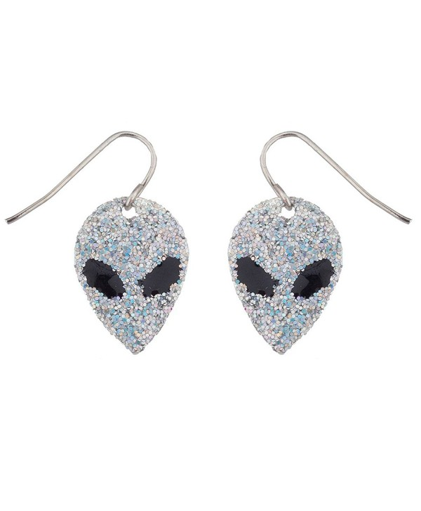 Lux Accessories Outer Space Glitter Alien Faces dangle earrings - CR12F77TM47