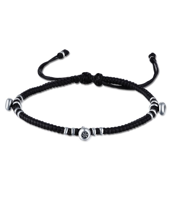 MBLife 925 Sterling Silver Beads Macrame Waxed Cotton Adjustable Cord Bracelet - CB12N9QEPMG