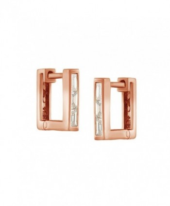 Petit Square Cubic Zirconia Huggies Earrings In 14K Gold Over Sterling Silver - CK12O7WEEKG