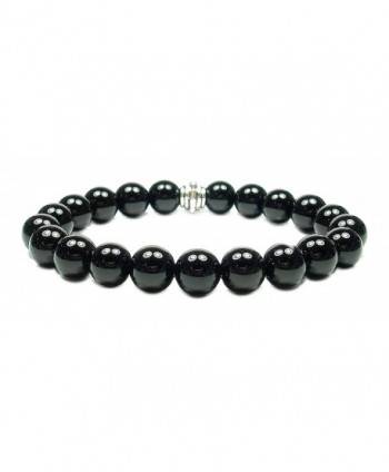 BLACK OBSIDIAN 8mm Round Genuine Crystal Gemstone Beaded Bracelet on Elastic Cord - C112O0PO4FM