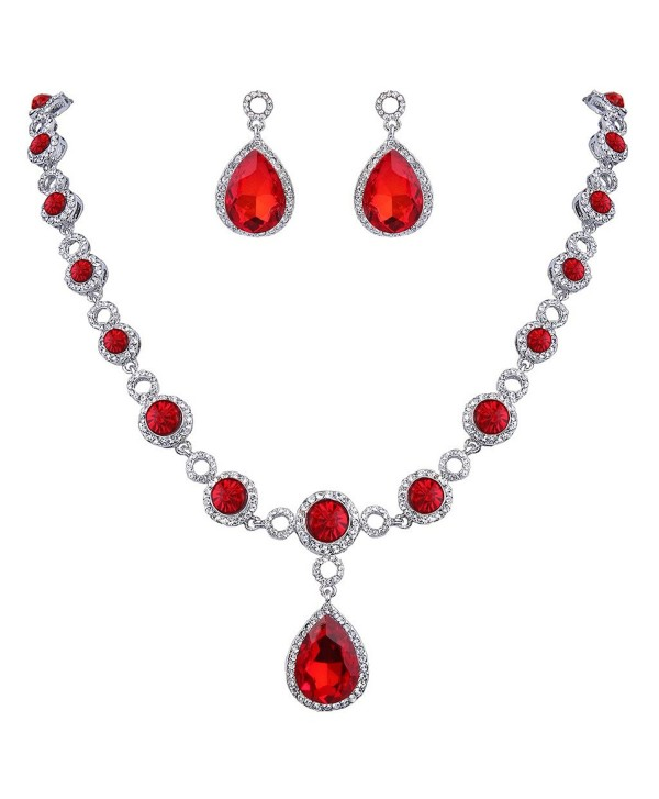 BriLove Infinity Y Necklace Silver Tone Birthstone - Ruby Color Silver-Tone - C2186S6I4N0