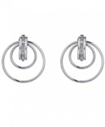 Sterling Silver Diamond Hoop Earrings (1/10 cttw) - CK11BIC21SP