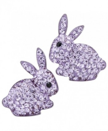 YACQ 925 Sterling Silver Crystal Bunny Stud Earrings Easter Custome Jewelry for Women Girls - Light purple - C5180NDX808