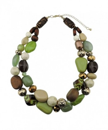 BOCAR 2 Layer Statement Chunky Beaded Fashion Necklace for Women Gifts - olive - CL182G7IC27