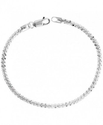 Sterling Silver Sparkle Rock Chain Necklaces & Bracelets 2.9mm Diamond cut Nickel Free Italy- 7-30 inch - CU114GQLVNB