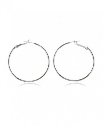 LALUCE-PRIMARY | 925 Sterling Silver Stud 35mm Round Clutchless Brass Hoop Earrings Silver Plated - CB120Z6NV4R