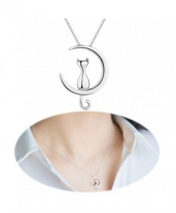 Cat Moon Studs Earrings Necklace Mini Ear Crawler Climbers Crescent Cute Kitten Collarbone Mirror Jewelry - CB186XQOM6R