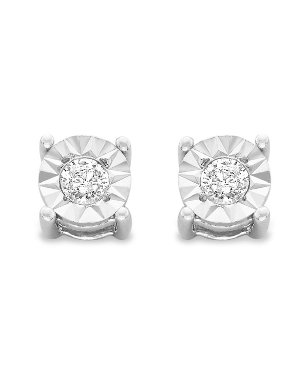 Sterling Silver .10ct. TDW Round-Cut Diamond Miracle-Plated Stud Earrings (J-K-I3) - White - CR184TLE4KU