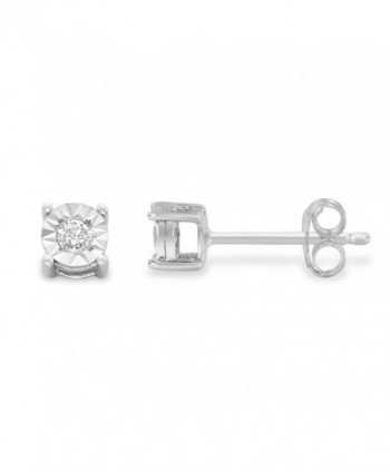 Sterling Round Cut Diamond Miracle Plated Earrings