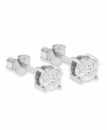 Sterling Round Cut Diamond Miracle Plated Earrings in Women's Stud Earrings