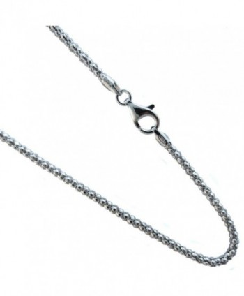 "Pop-corn 2.7mm Chain Italian Sterling Silver Rhodium Plated Necklace 16-18-20-22-24-30-36"" - CK11TYKRCRN"