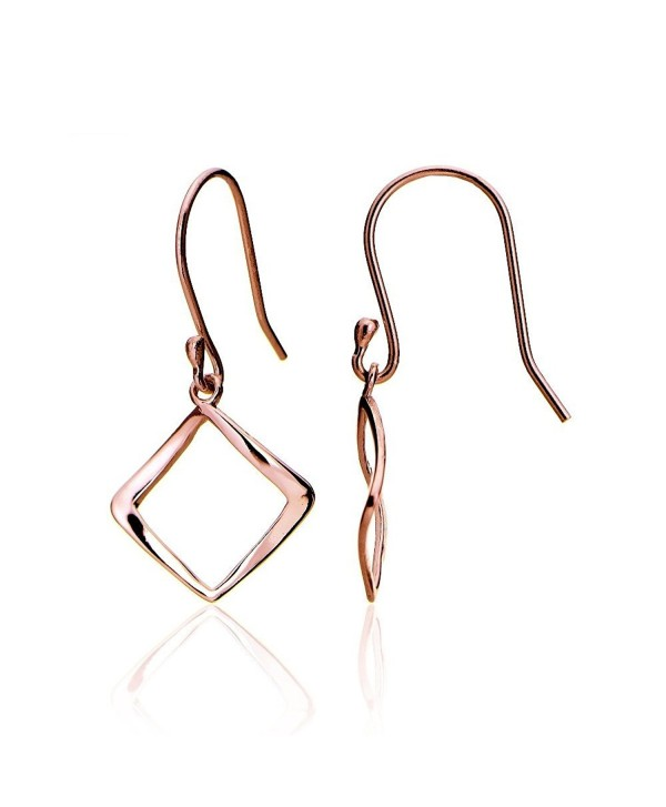 Hoops & Loops Sterling Silver Geometric Square Polished Dangle Earrings - rose-gold-flashed-silver - CN12GJGOFID