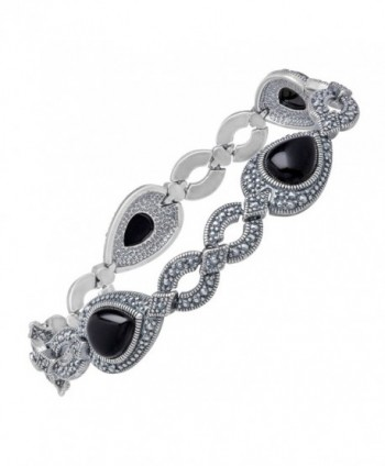 "Black Agate and Marcasite Bracelet in Sterling Silver-Plated Brass- 7.25"" - CM11XYXO355"