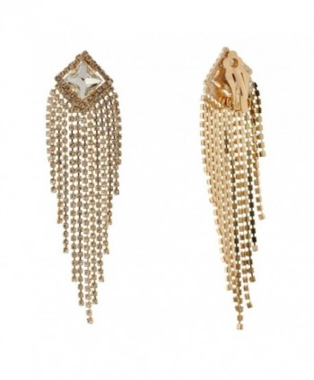 Topwholesalejewel Fashion Jewelry Earrings Gold Plating Chandlier Clip On Dangle Earrings - C3182Q87KXT