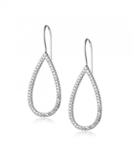Evermarker Titanium Crystal Sterling Silver Heart Shape Fashion Earrings for Women (White) (Waterdrop Shape) - C612K1KF9VP
