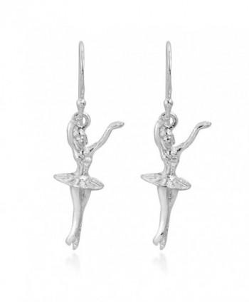 Graceful Ballerina Dancer .925 Sterling Silver Dangle Earrings - C411N2ZJ2VZ