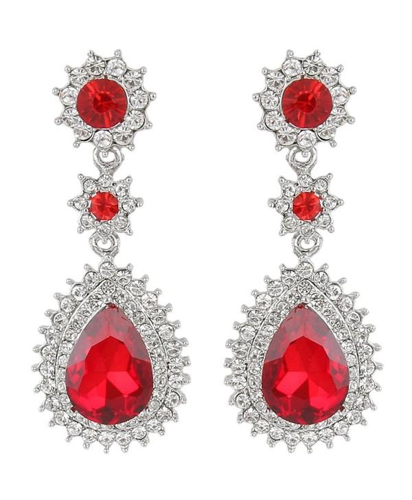 EleQueen Women's Austrian Crystal Dazzling Flower Tear Drop Wedding Dangle Earrings - Silver-tone Ruby Color - CG122CQL71H