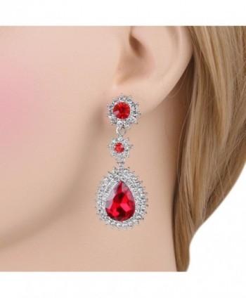 EleQueen Austrian Dazzling Earrings Silver tone