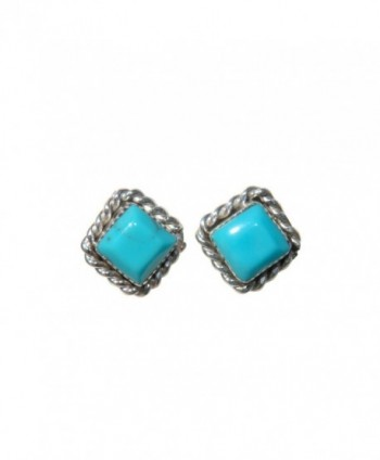 Small Square Stabilized Turquoise Stud Earrings w/ Twist Wire Border Design Original Zuni Indian Jewelry - C9129CIMYXX