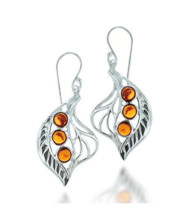 Rhodium Plated 925 Sterling Silver Three Gemstone Leaf Dangle Earrings - Amber - CF12423BIGH