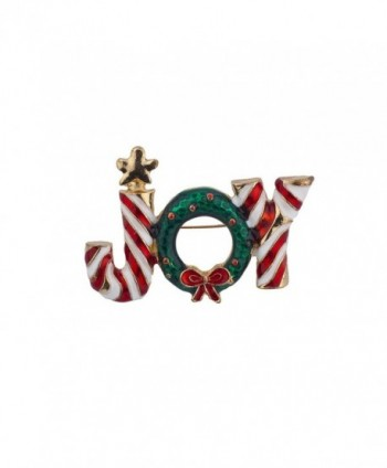 Lux Accessories Vintage Holiday Christmas Xmas Santa Brooch Pin Jewelry - Candy Joy - CG12NH9TGDX