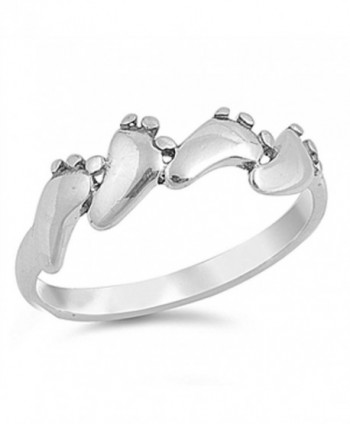 Baby Feet Foot Footprint Ring New .925 Sterling Silver Band Sizes 3-10 - CF1297DAA3H
