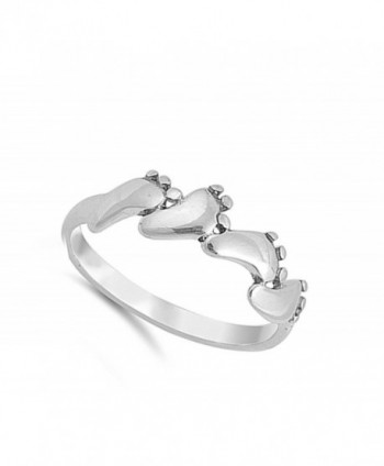 Baby Feet Footprint Sterling Silver in Women's Band Rings