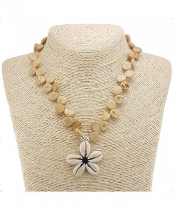 Cowrie Flower Pendant on Wood Disk Bead Necklace - Natural - CM12MXA9DZX