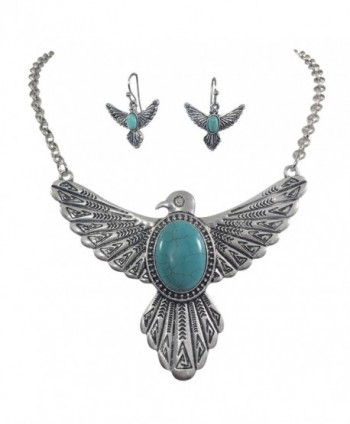 Tribal Eagle Simulated Turquoise Silver Tone Western Southwestern Look Necklace Earring Set - CI12OBAJGKP